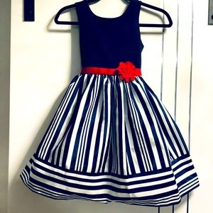 Girls 8 Special Occasion Navy/White, Red Flower